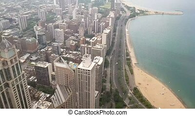 View of the city of Chicago and lake Michigan. Lake Michigan...
