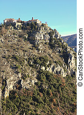 View of the city of Gourdon, South of France