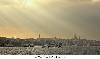 view of the city of Istanbul from the ship. Turkey