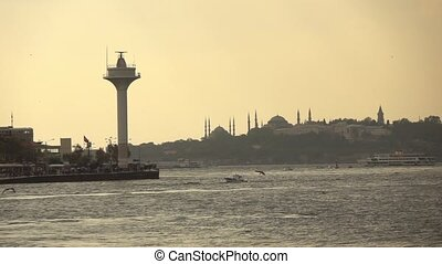 view of the city of Istanbul sea, ships and seagulls - city...