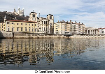 View of the city of Lyon with Saone river, France