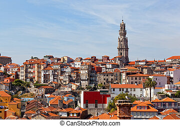 View of the city of Porto: houses around Riber and church ...