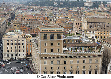 View of the city of Rome from above Italy, roofs.