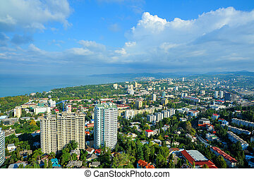 View of the city of Sochi and Black sea