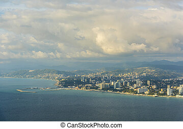 View of the city of Sochi from the sea