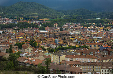 View of the city Olot, Girona, Spain