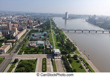 View of the city Pyongyang. - Aerial view of the city in...