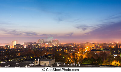 View of the city resort Anapa after sunset, Russia