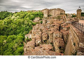 View of the city Sorano, Italy