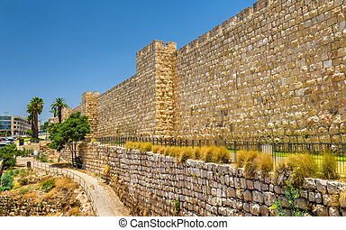 View of the City walls in Jerusalem