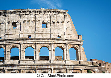 View of the Coliseum also known as the Flavian Amphitheatre. Rome, Italy