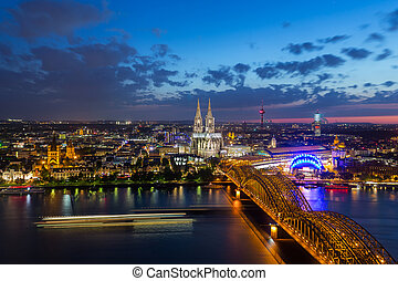 View of the Cologne at sunset