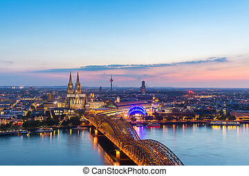 view of the Cologne Cathedral at sunset