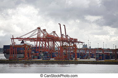 container port - view of the container port in downtown ...
