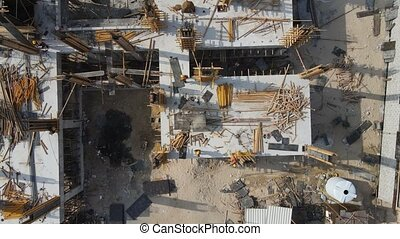 construction site of a house. drone aerial shot