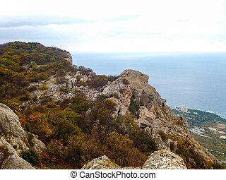 View of the Crimean mountains and the Black sea at autumn in Crimea
