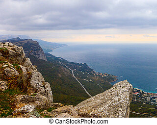 View of the Crimean mountains and the Black sea coast at autumn in Crimea