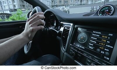 View of the dashboard of the car while driving
