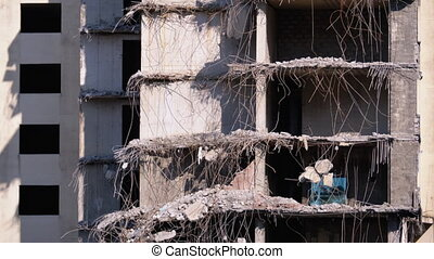 View of the Destroyed Concrete Building at the Construction Site.