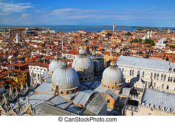 View of the domes of St Mark's Basilica in Venice, Italy. It...