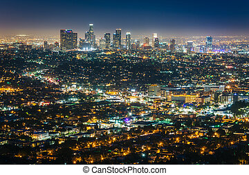 View of the downtown Los Angeles skyline at night, from Griffith