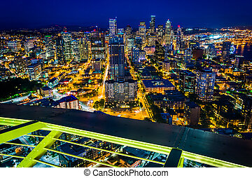 View of the downtown Seattle skyline at night, in Seattle, Washington.