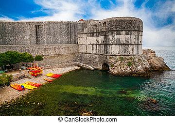 Dubrovnik City Walls near the public beach Kolorina