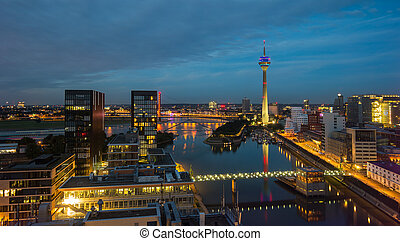 View of the Dusseldorf Skyline at sunset