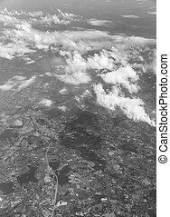 View of the Dutch landscape in monochrome