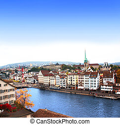 View of the embankment and Limmat river in Zurich, Switzerland