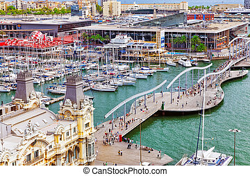 View of the embankment of Barcelona in Barcelona, Catallonia...