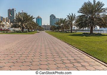 View of the embankment of Sharjah Creek