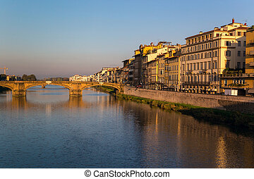 View of the embankment of the river Arno in Florence