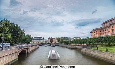 View of the Embankment of the river Moyka and Mikhailovsky Castle timelapse hyperlapse. Saint Petersburg. Russia.