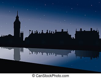View of the embankment of the Thames Big Ben and the Palace...