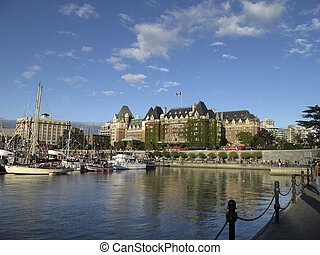 view of the empress hotel in downtown victoria