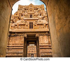 view of the entrance to the Temple Brihadishwara, India, ...