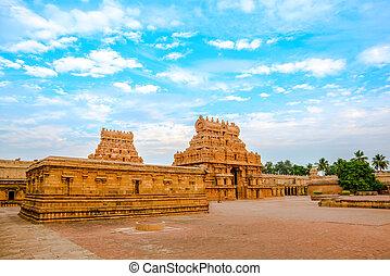 view of the entrance tower at Hindu Brihadishvara Temple, India,
