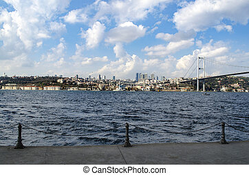 View of the European side of Istanbul from the Bosphorus.