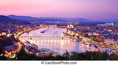 View of the evening Budapest
