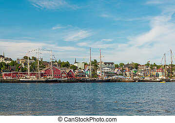 View of the famous harbor front of Lunenburg during Tall Ship Festival 2017
