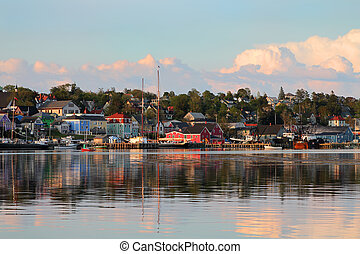 View of the famous harbor front of Lunenburg, Nova Scotia, one of the Maritime Provinces , Canada a UNESCO world heritage site.