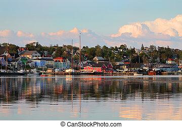 Lunenburg, Nova Scotia - View of the famous harbor front of ...