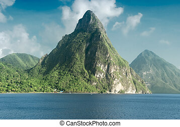 View of the famous Piton mountains