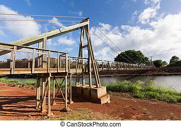 View of the famous swinging bridge in Hanapepe Kauai