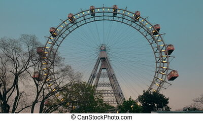 View of the ferris wheel from the ground, Vienna, Austria -...