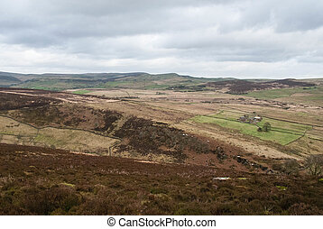 View of the fields and heather across the Staffordshire Moorlands