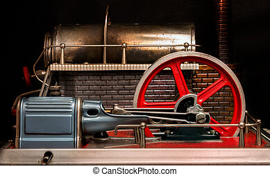 View of the flywheel of a steam engine