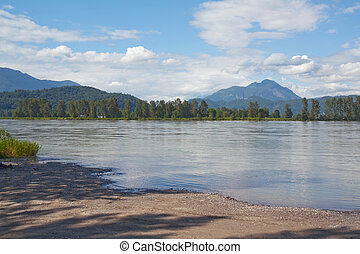 View of the Fraser River in British Columbia, Canada, with...