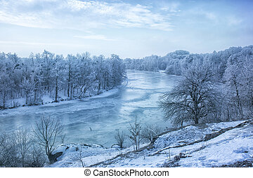 View of the frozen river